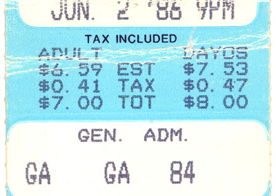 Einstürzende Neubauten at Parody Hall in KC, MO June 2, 1986 - My Ticket Stub