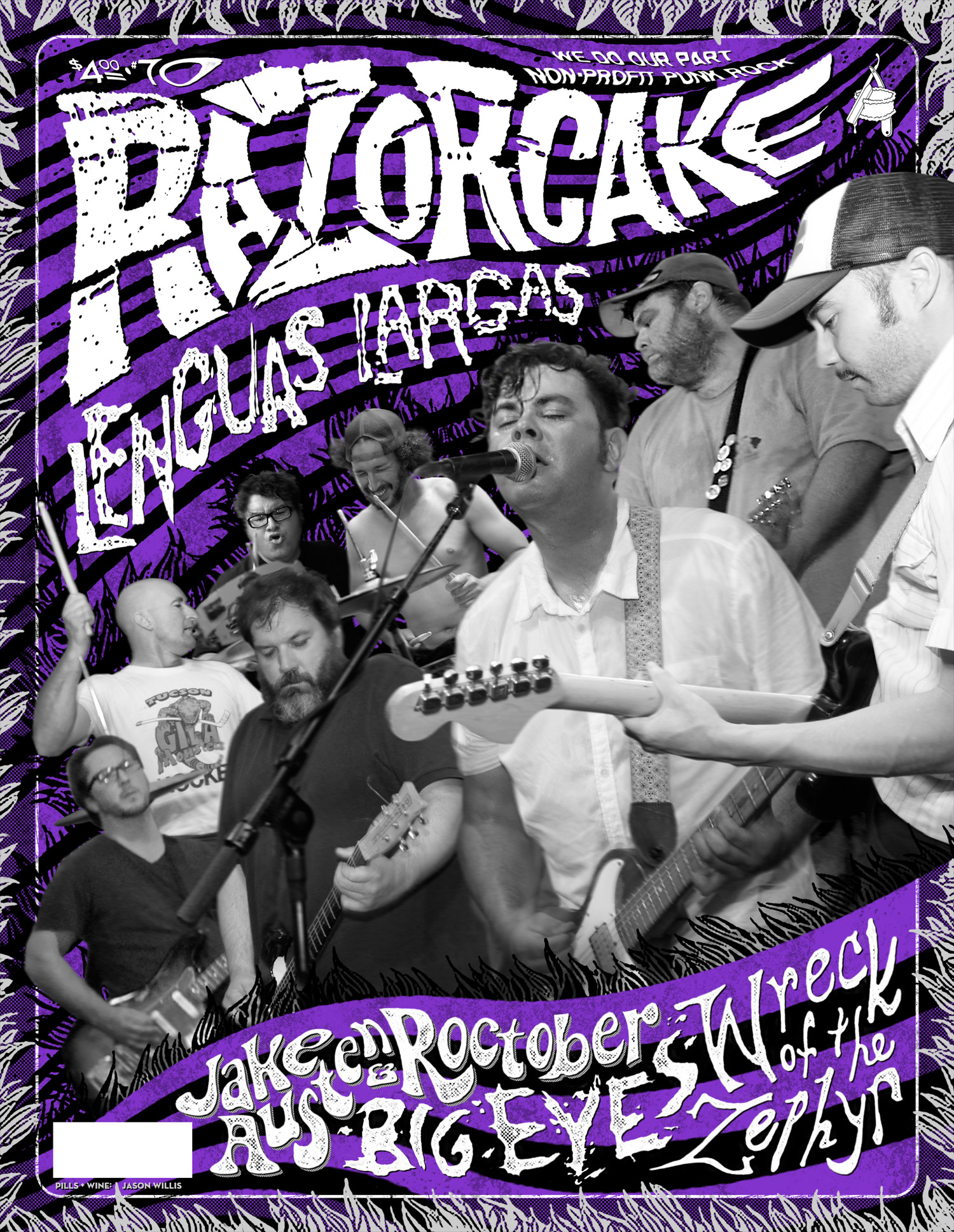 Razorcake 70 - Lenguas Largas Front Cover - Graphic Design