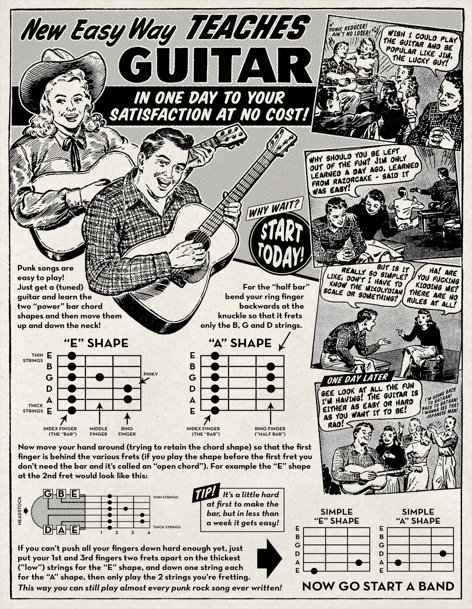 Razorcake - Learn to Play Guitar in One Day at No Cost - Graphic Design