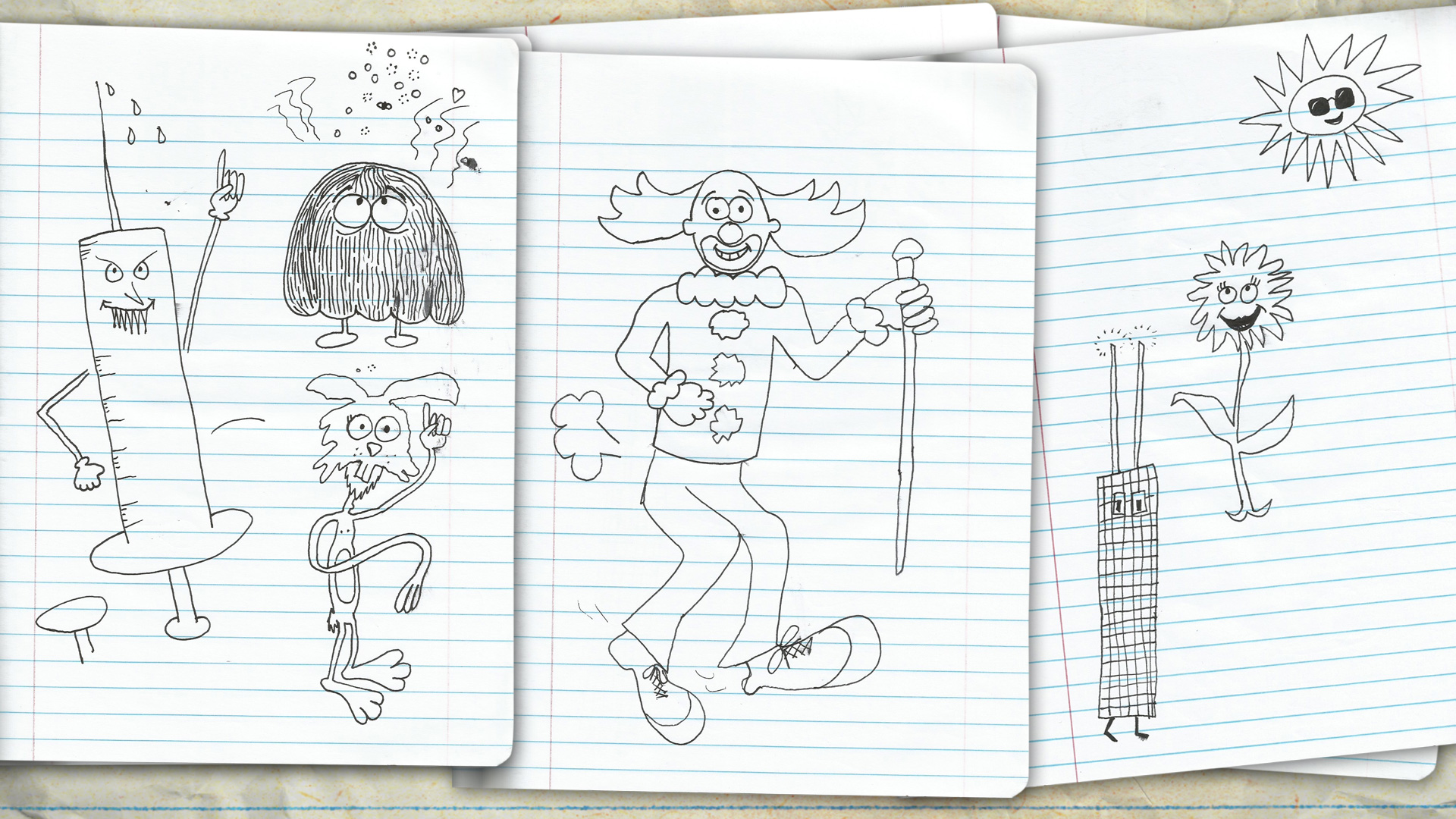 Nobunny - I Was On The Bozo Show - Original B/W Character Designs by Justin 02