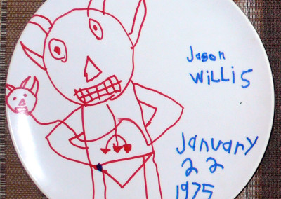 Devil Holding Devil Balloon, Plate, 1975 by Jason Willis