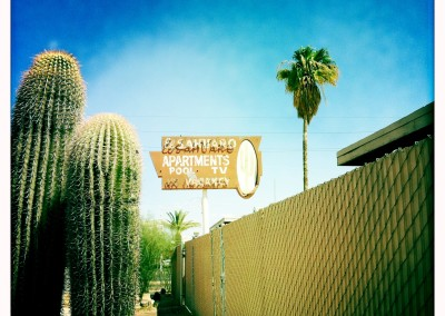 Enjoy a fence and some saguaros at El Sahuaro.