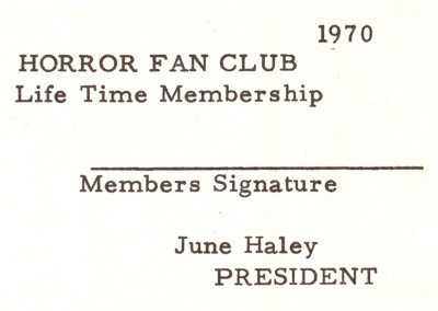 Moon Monster Fan Club Membership Card