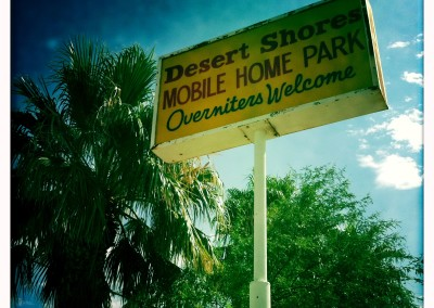 Overniters are welcome at the Desert Shores Mobile Home Park.