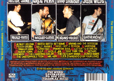 Weird Lovemakers - Flu Shot - CD Back Cover (eMpTy Records, 1998)