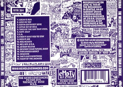 Weird Lovemakers - Live: Bigger than a Cookie, Better than a Cake - CD Back Cover (eMpTy Records, 2000)