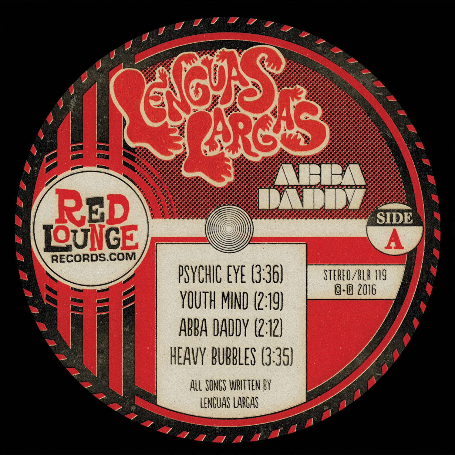 "Lenguas Largas ""Abba Daddy"" Side A LP Label - Graphic Design"
