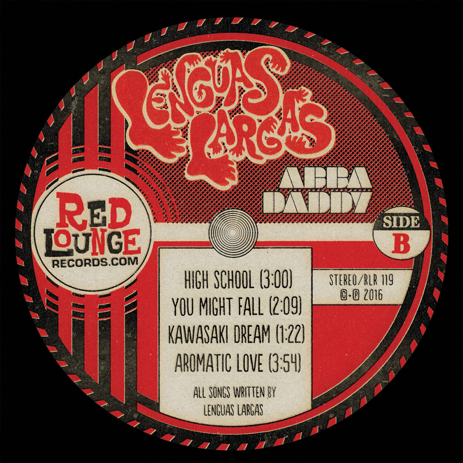 "Lenguas Largas ""Abba Daddy"" Side B LP Label - Graphic Design"