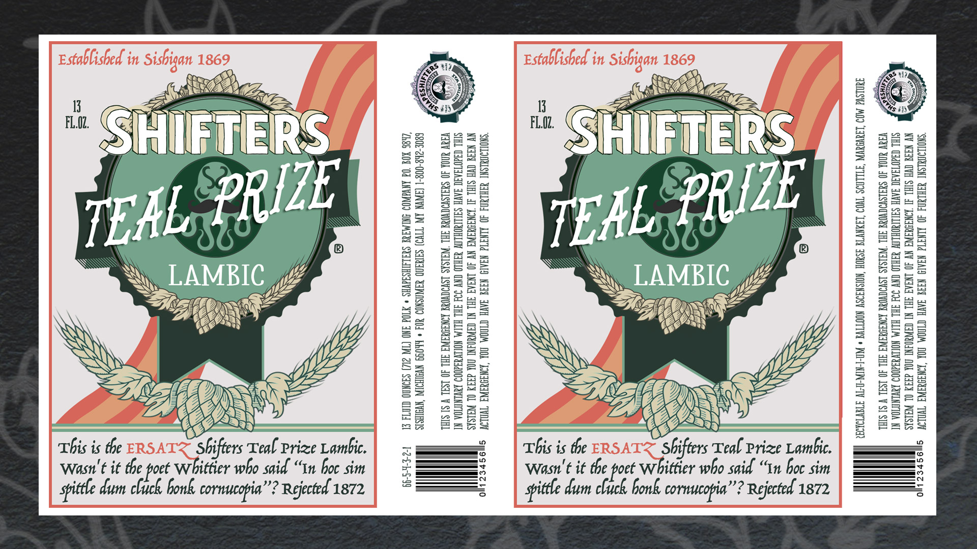 "They Might Be Giants - Shape Shifters - ""Shifters Teal Prize Lambic"" Label"